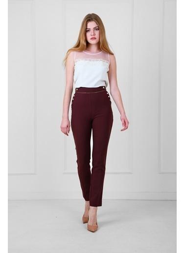 JEANNE D'ARC Yüksek Belli Biye Ve Düğme Detaylı Darpaça Pantolon  Bordo